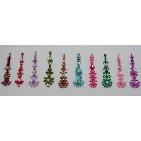 b153~Long Bindi Card Stick on Sticker Body Jewelry