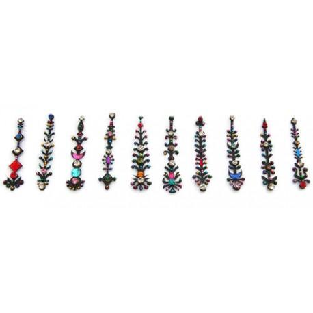 b132~Long Bindi Card Stick on Sticker Body Jewelry