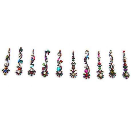 b133~Long Bindi Card Stick on Sticker Body Jewelry
